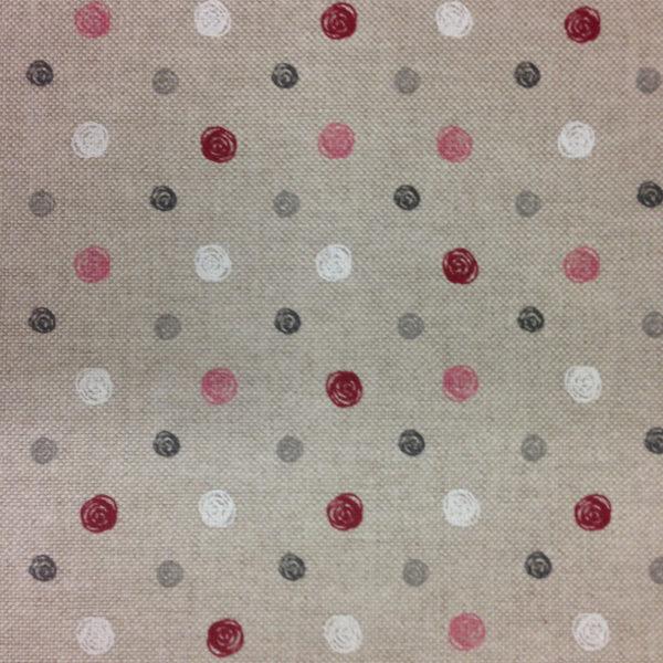 Loneta estampada half panam color lino con topos de - Loneta para tapizar ...