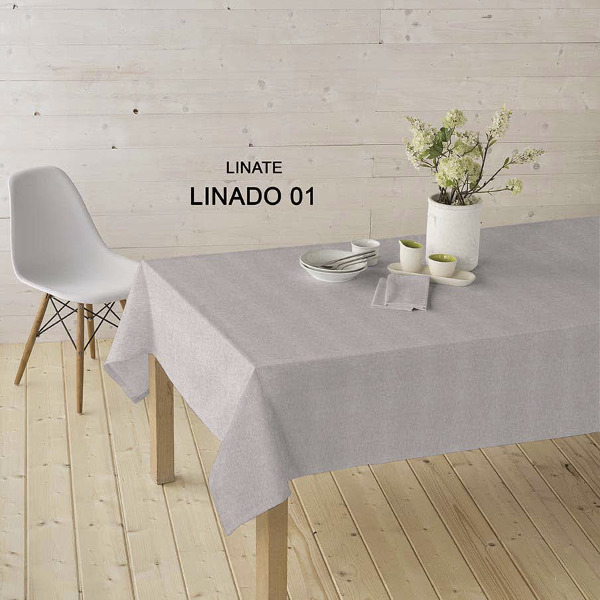 Stain Resistant Tablecloth | Resin Coated Fabric | Linen Natural/grey Color  U2013 KILOtela