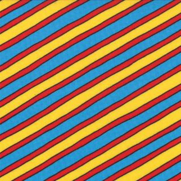 Quilting Fabric USA | Diagonal Stripes yellow/red/blue – KILOtela