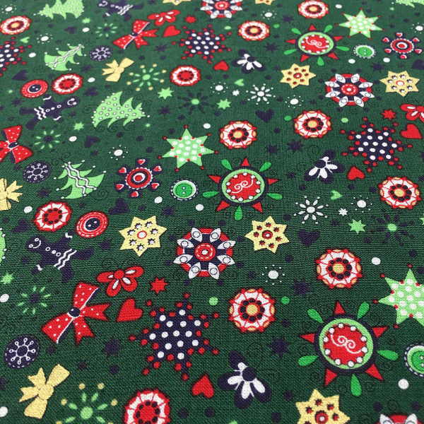 Christmas Quilting Fabric Green With Christmas Trees Loop Straps