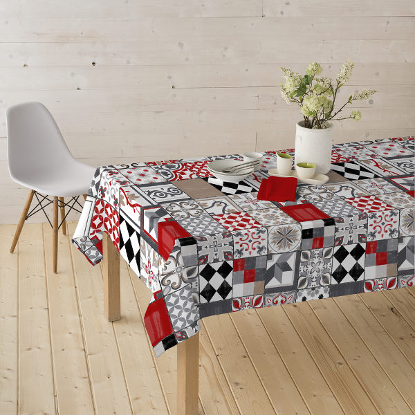 Stain Resistant Tablecloth | Resin Coated Fabric | Tiles Red/black/grey
