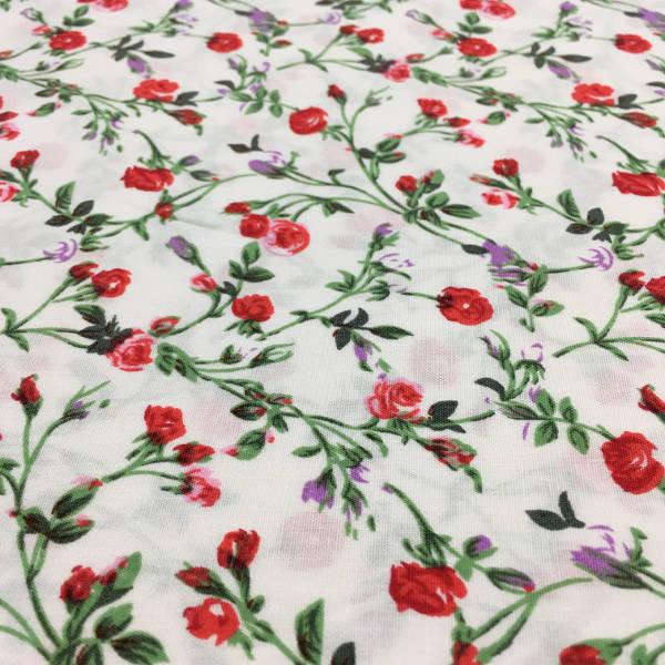 Patchwork Estampado Flores Rojas Fondo Blanco Kilotela