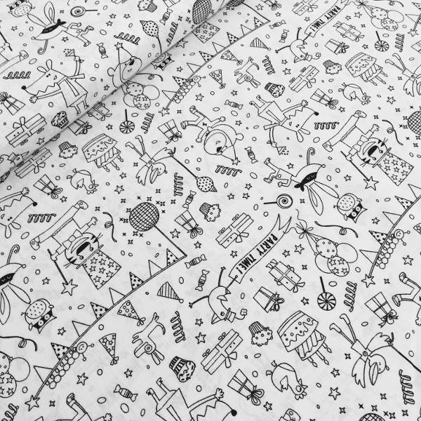 Printed Quilting Fabric Party Black And White
