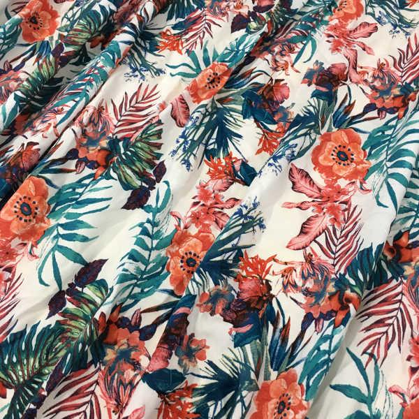 tela de viscosa estampado tropical con flores fondo