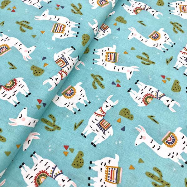 Quilting Fabric Llama Blue Background Kilotela
